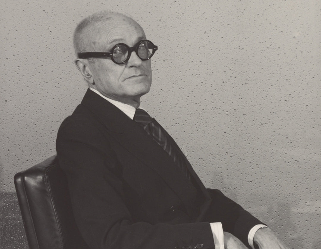 Philip Johnson sitting in his chair