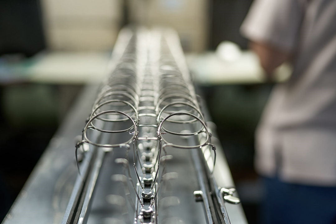 Production line of titanium Japanese sunglasses being manufactured in Sabae