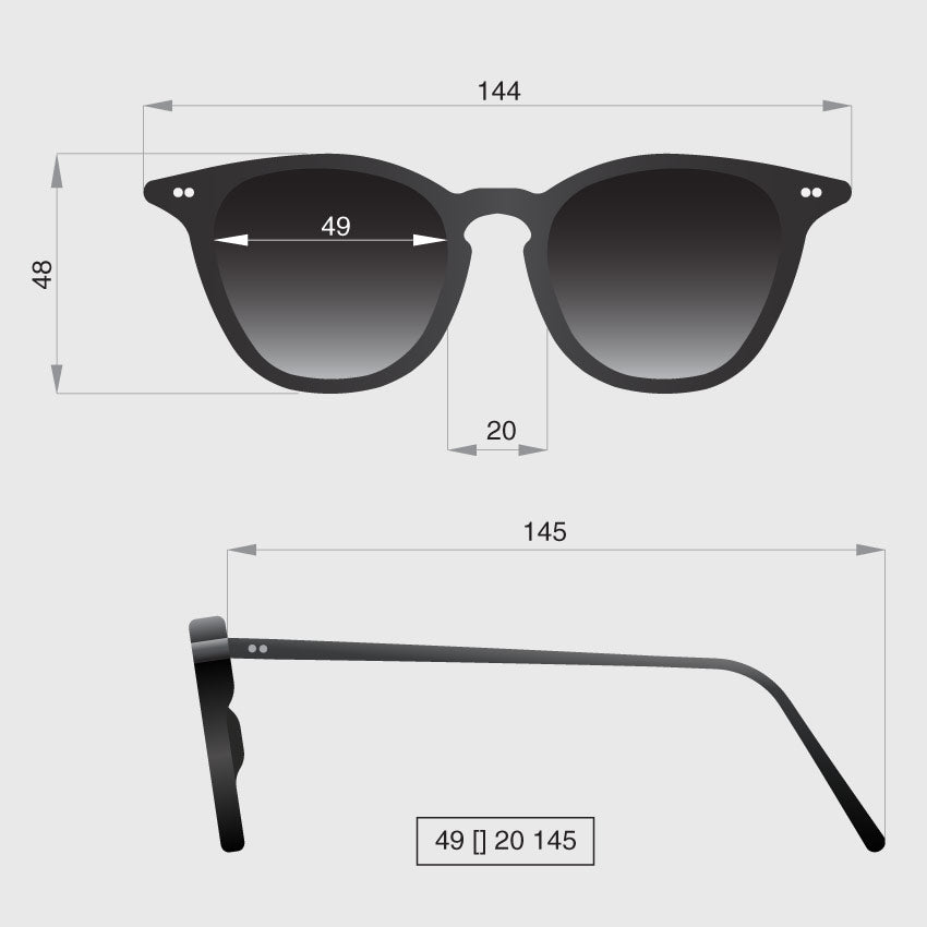 Profile original sunglasses dimensions