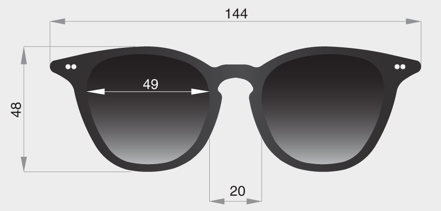 Profile original sunglasses frame front dimensions