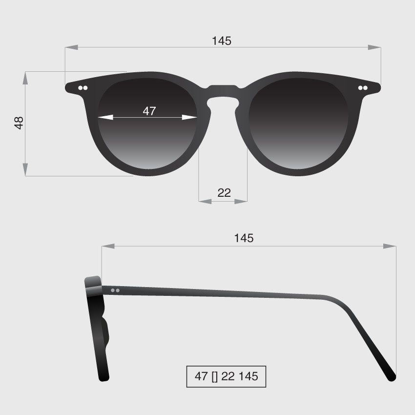 Profile round sunglasses dimensions by Banton Frameworks