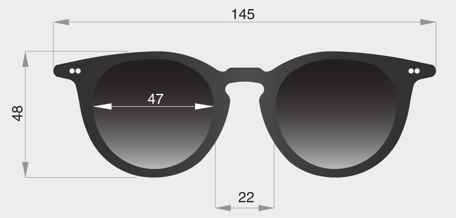 Profile round sunglasses frame front dimensions