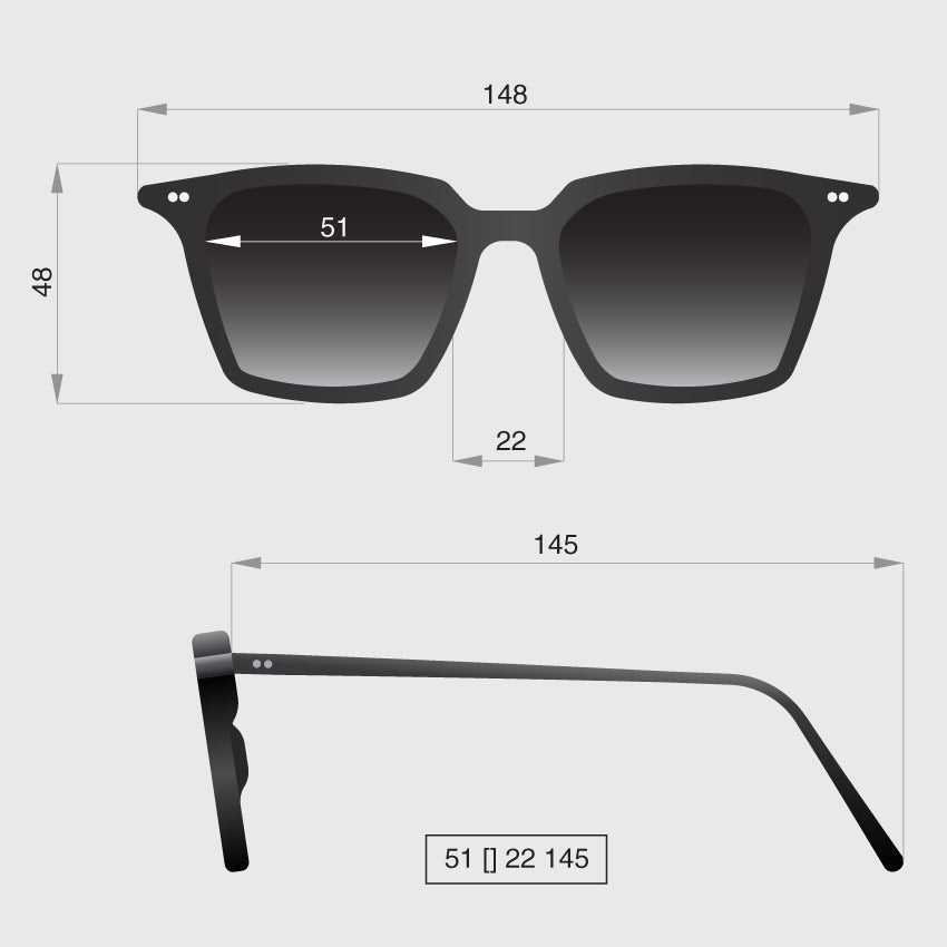 Profile square sunglasses dimensions by Banton Frameworks