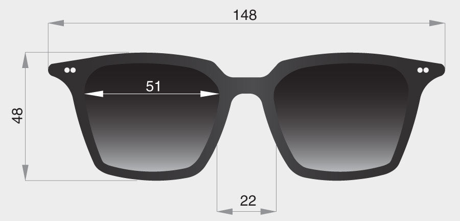 Profile square sunglasses frame front dimensions