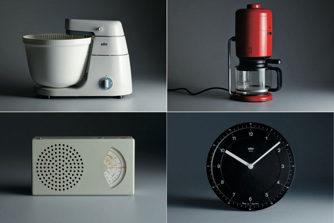 Quadrant of food mixer, coffee pot, radio and clock designed by Dieter Rams