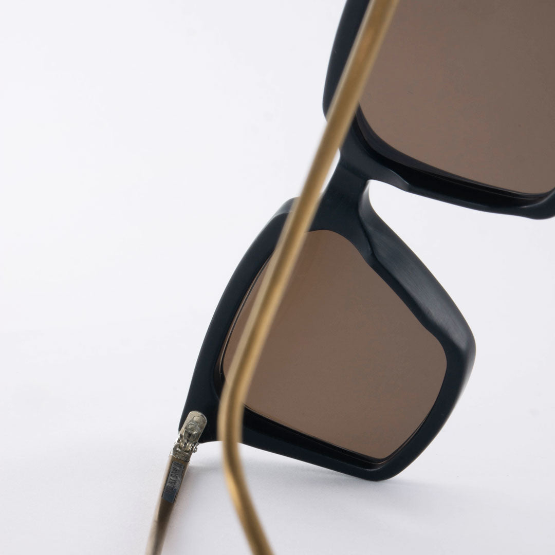 Rear view of black and bronze sunglasses