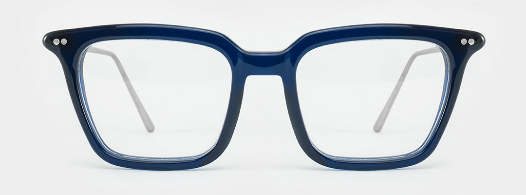 Rectangular blue glasses frame with silver arms