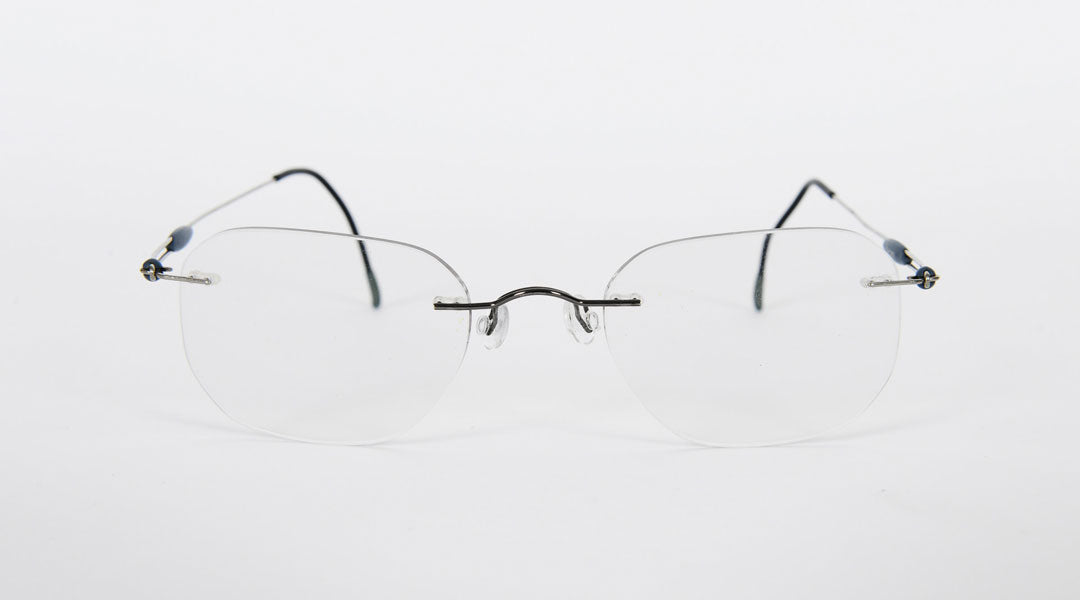 Rimless glasses frame with metal bridge and temples