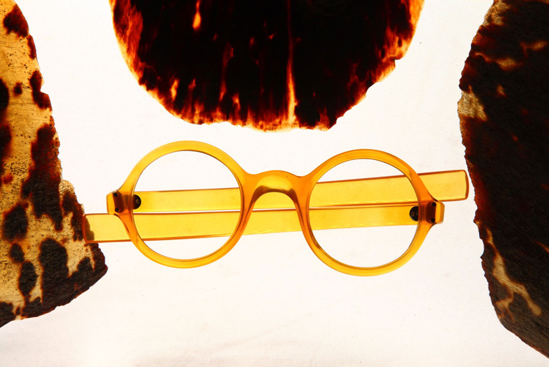 Round amber eyeglasses made from real tortoiseshell
