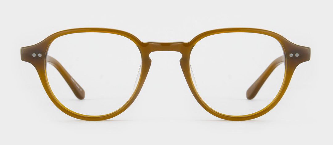 Round amber glasses frame with flat brow
