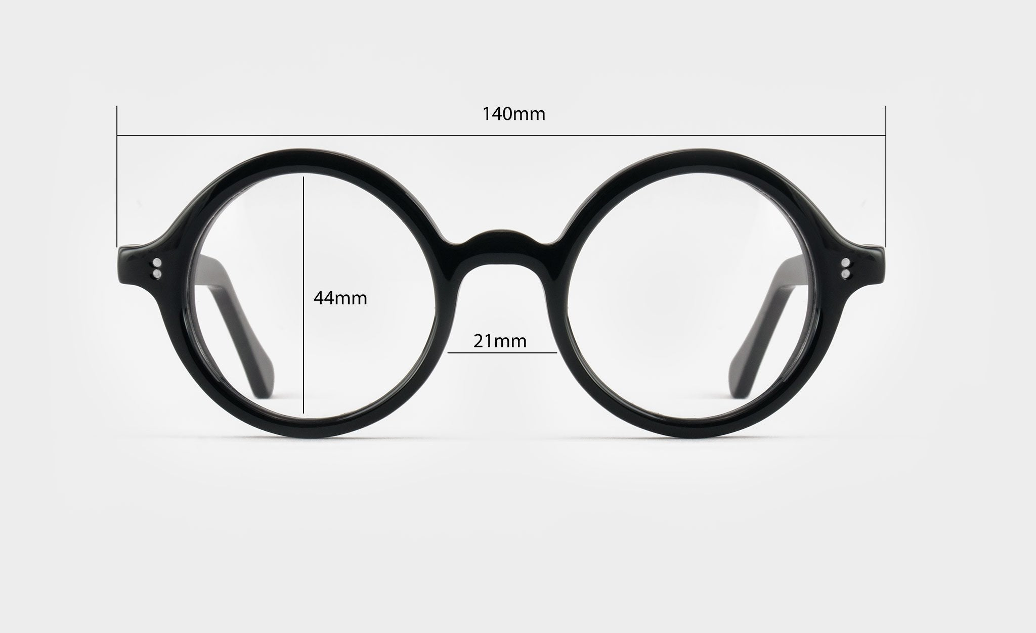 Round black glasses front view dimensions