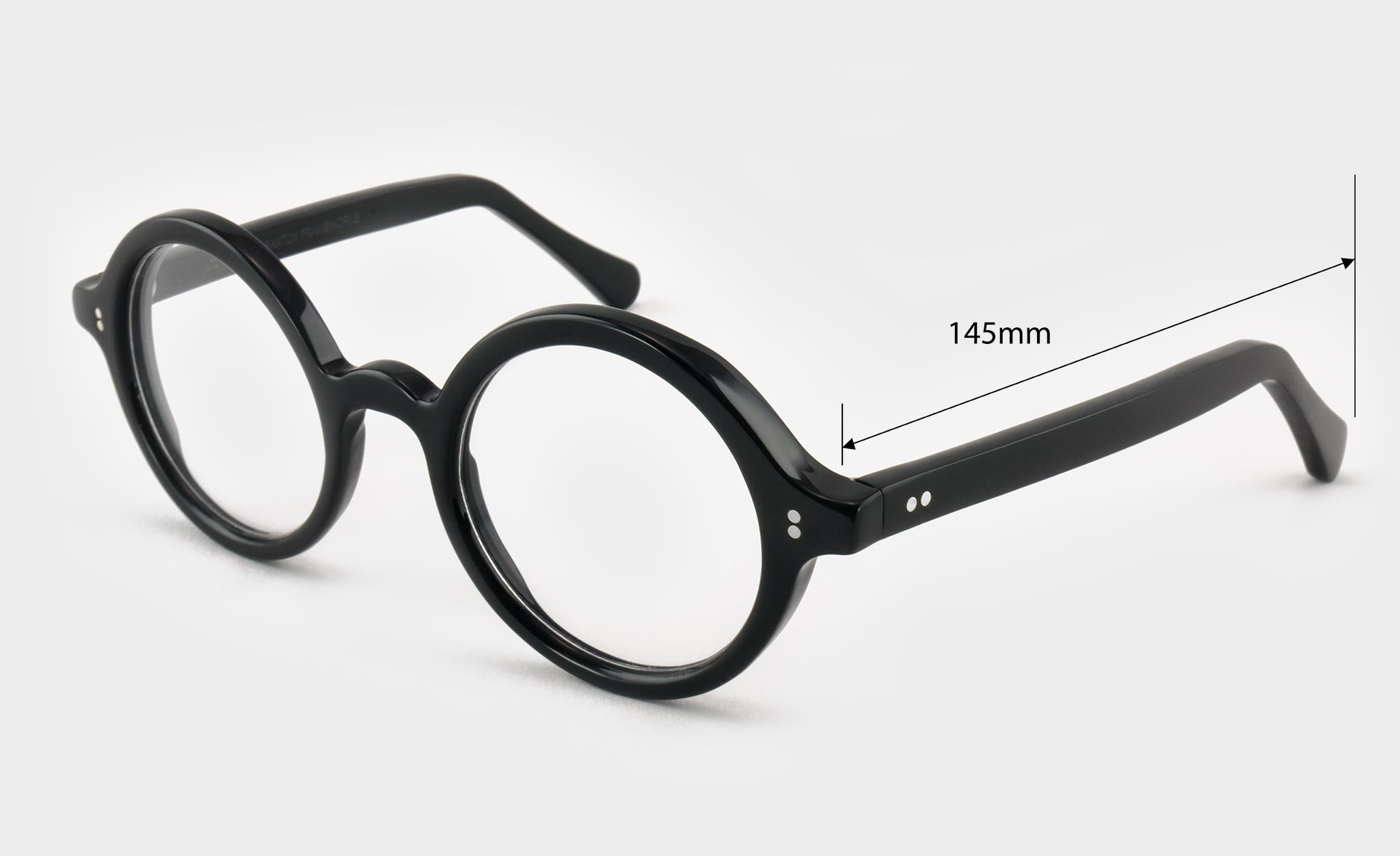 Round black glasses side view dimensions