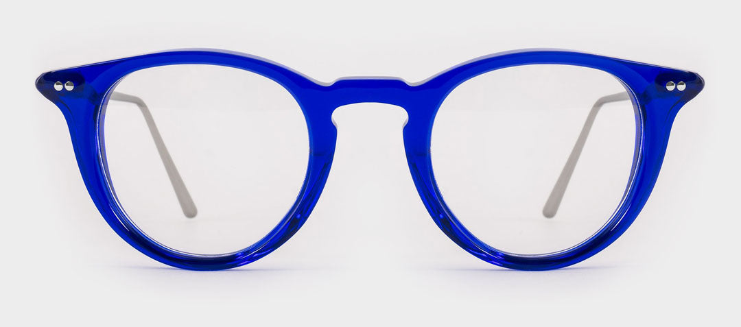 Round blue glasses frame