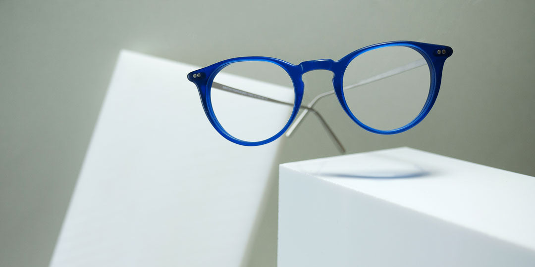 Round blue reading glasses for grey hair