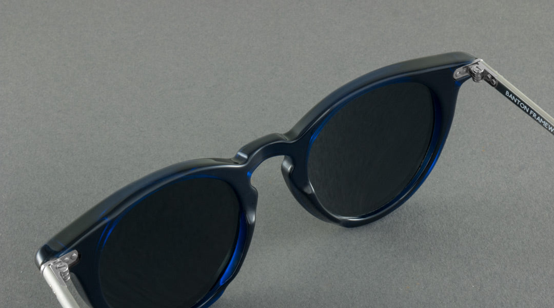 Round blue sunglasses with silver arms