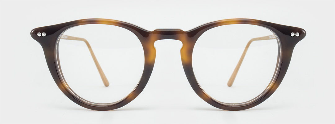 Round tortoise glasses frame with rose gold legs