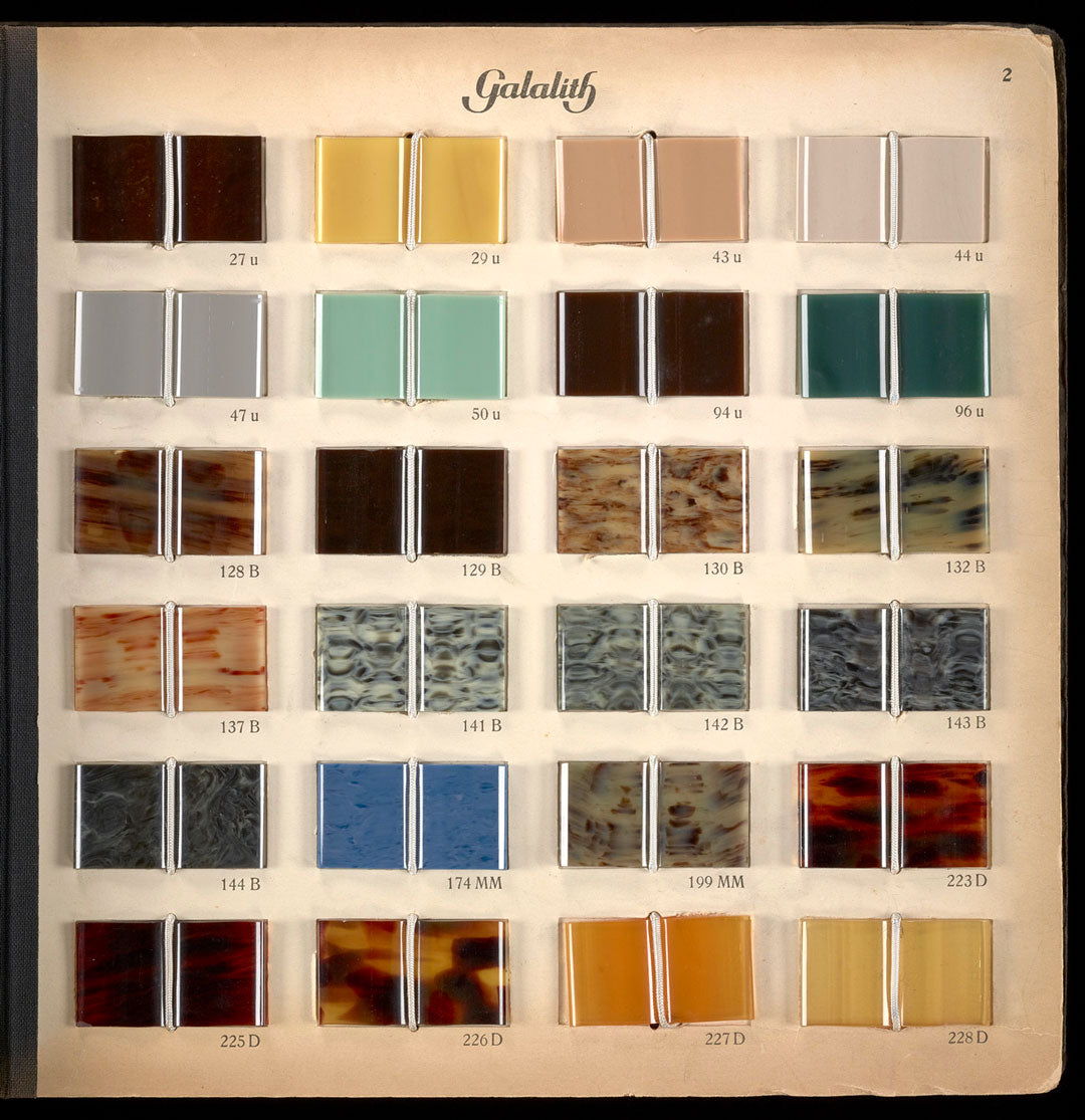 Sample card of Galalith plastic colours