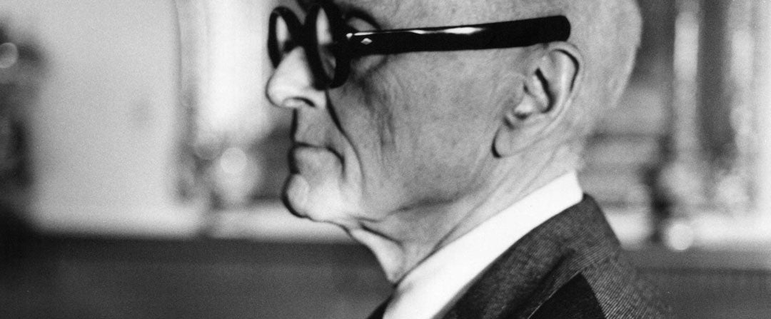 Side view of Philip Johnson's glasses with their straight paddle temples