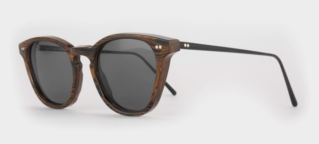 Side view of brown Ebonite rubber sunglasses