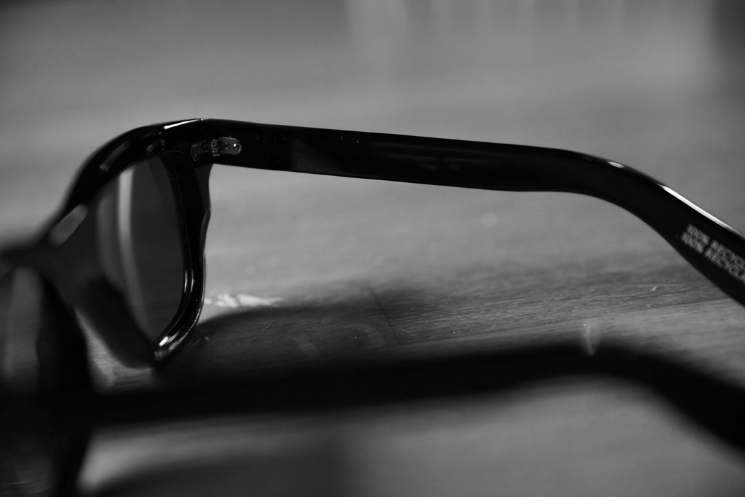 Side view of chunky black sunglasses frame