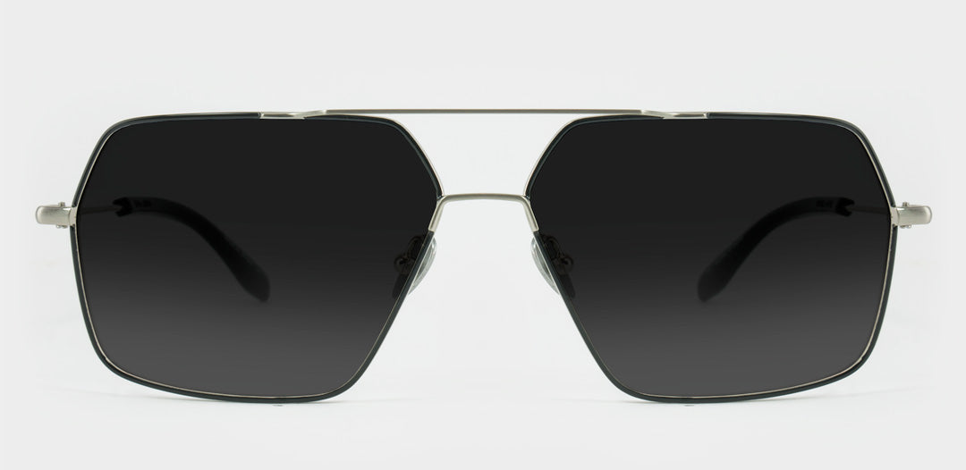 Silver and black large wire sunglasses with grey polarised lenses
