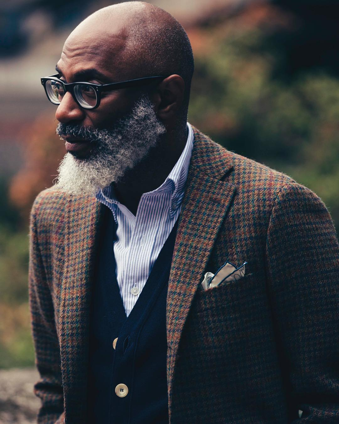 Smart dressed african man with grey beard dark glasses tweed jacket and light shirt side on to viewer