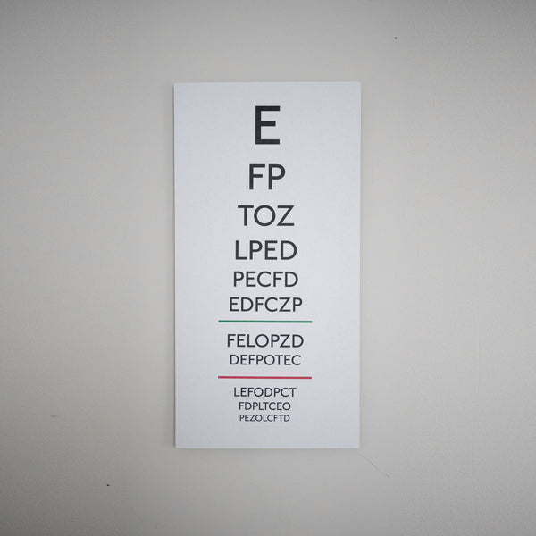 Image of eye test chart, Snellen Chart.