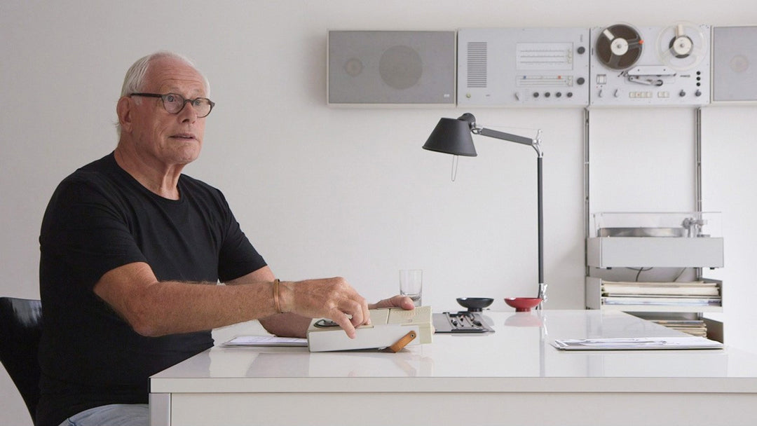 Still shot of Dieter Rams discussing product logos during the Rams feature length documentary