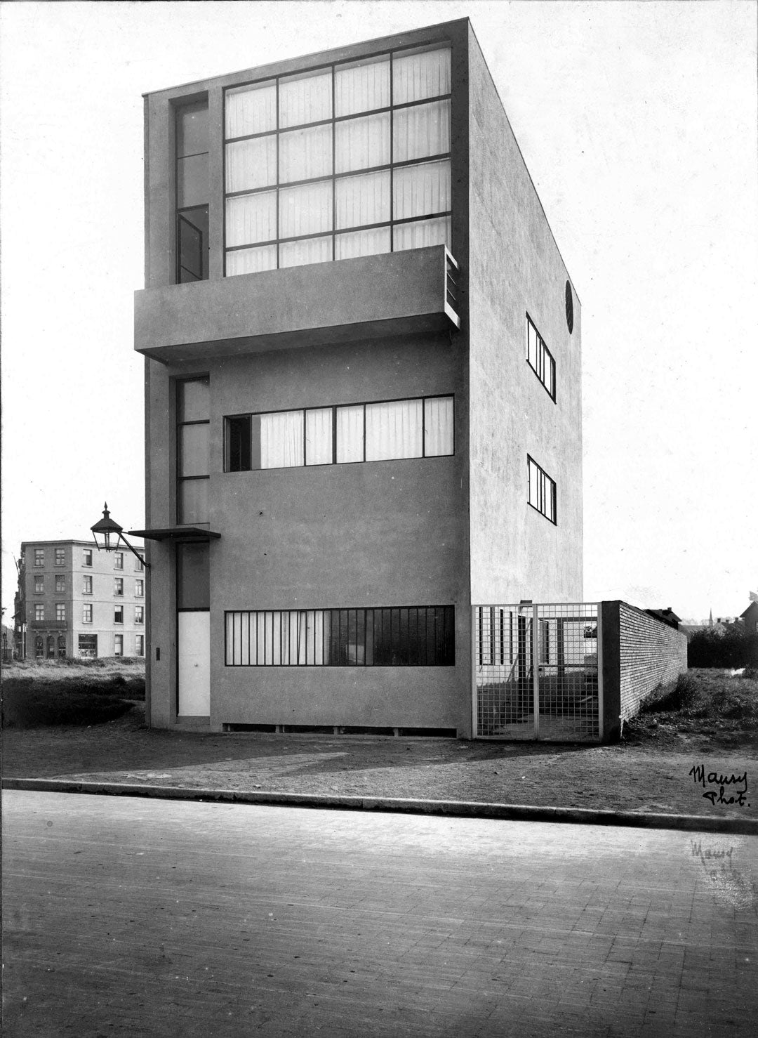 Street view of Le Corbusier's Maison Guiette building in Antwerp Belgium
