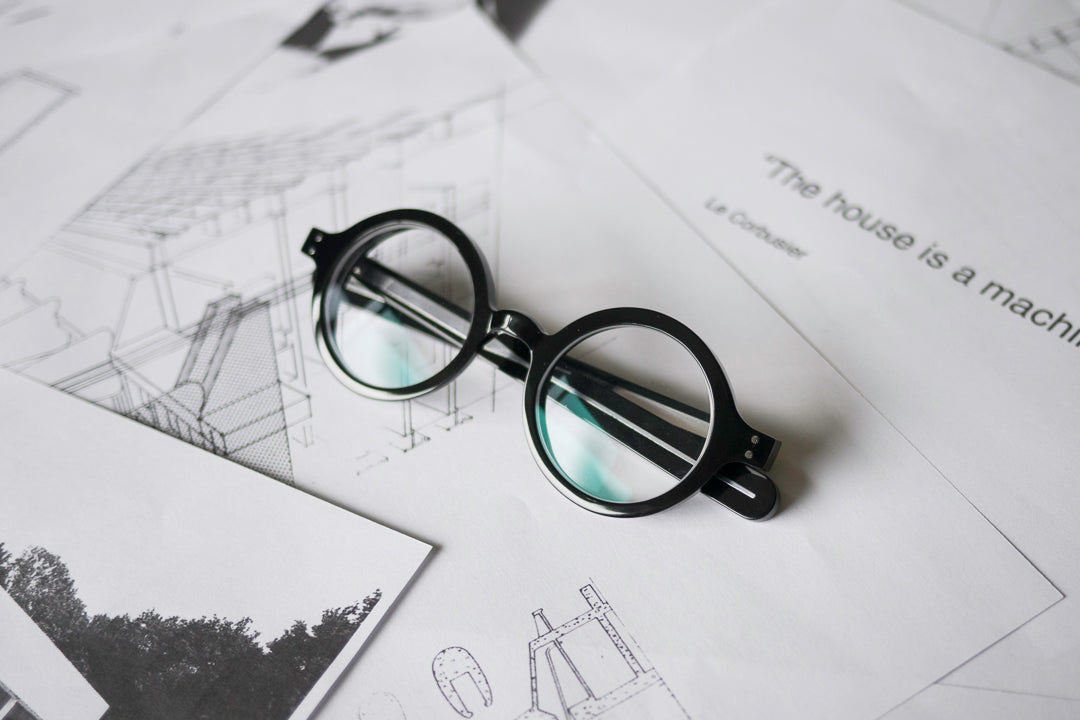 Thick black circular glasses frame