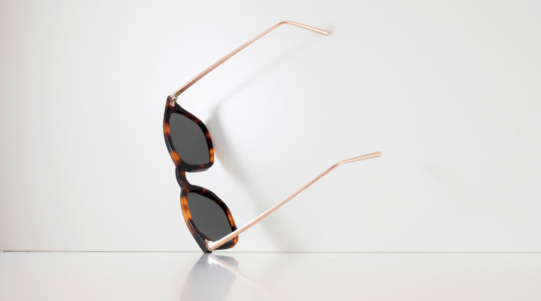 Tortoise-acetate-polarised-sunglasses-leaning-against-a-white-backdrop