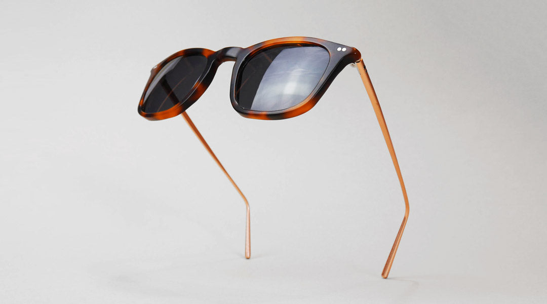 Tortoise sunglasses frame standing upright on its own
