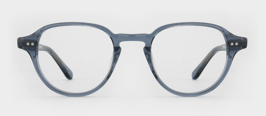 Transparent blue round spectacle frame