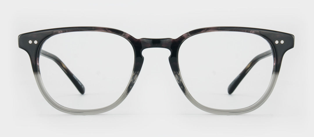 Two tone glasses frame with dark upper and clear lower half
