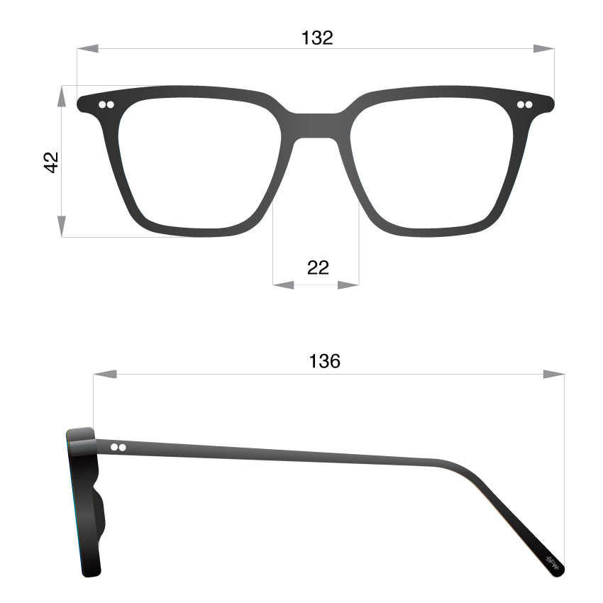 UK made Glasses E BLK