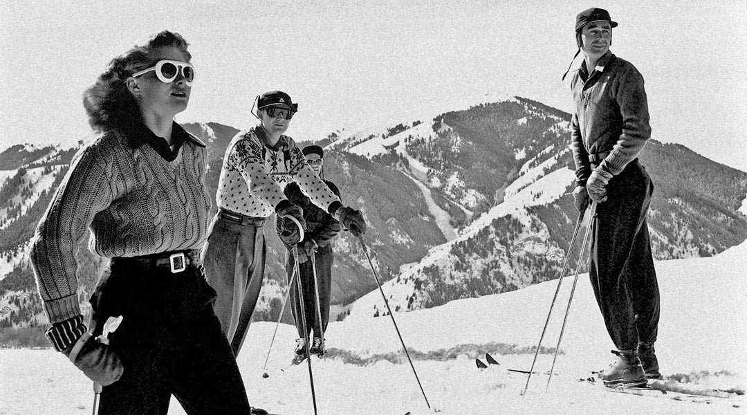 Vinatge photo of skiers wearing sunglasses