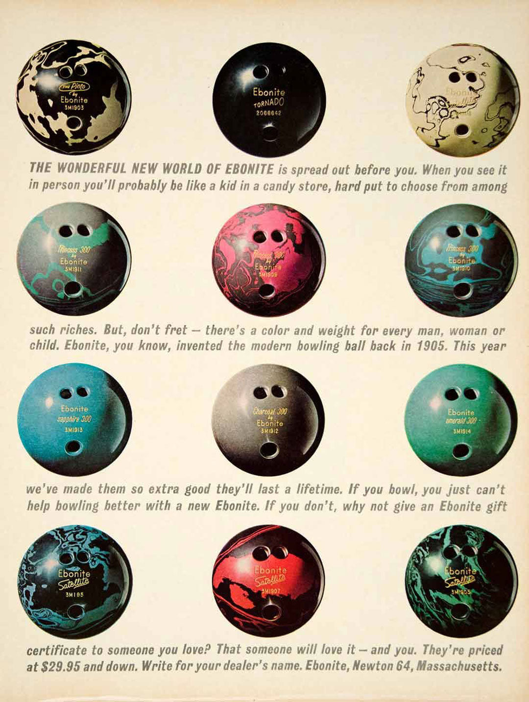 Vintage American poster for Ebonite bowling balls