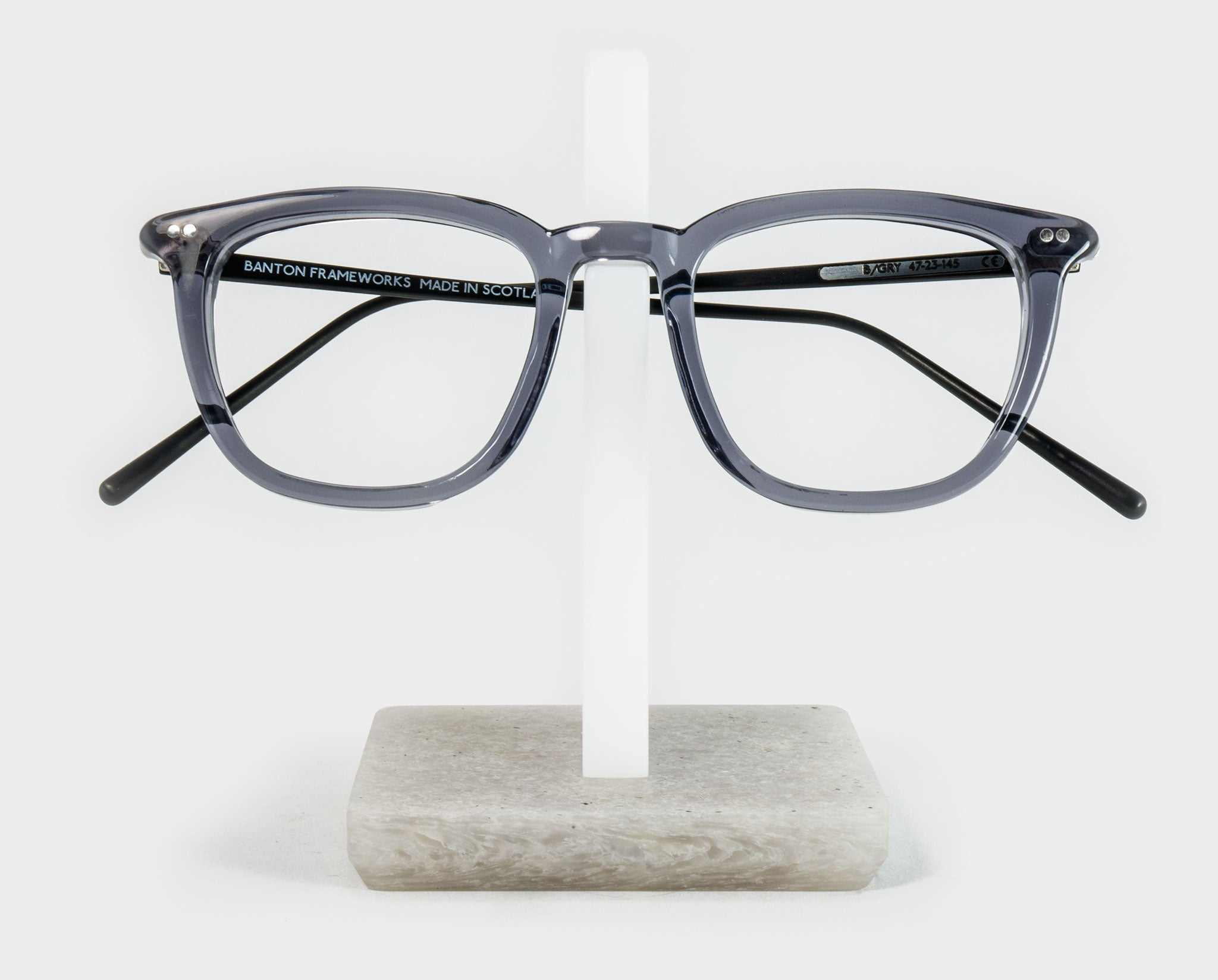 White spectacle holder with glasses front view