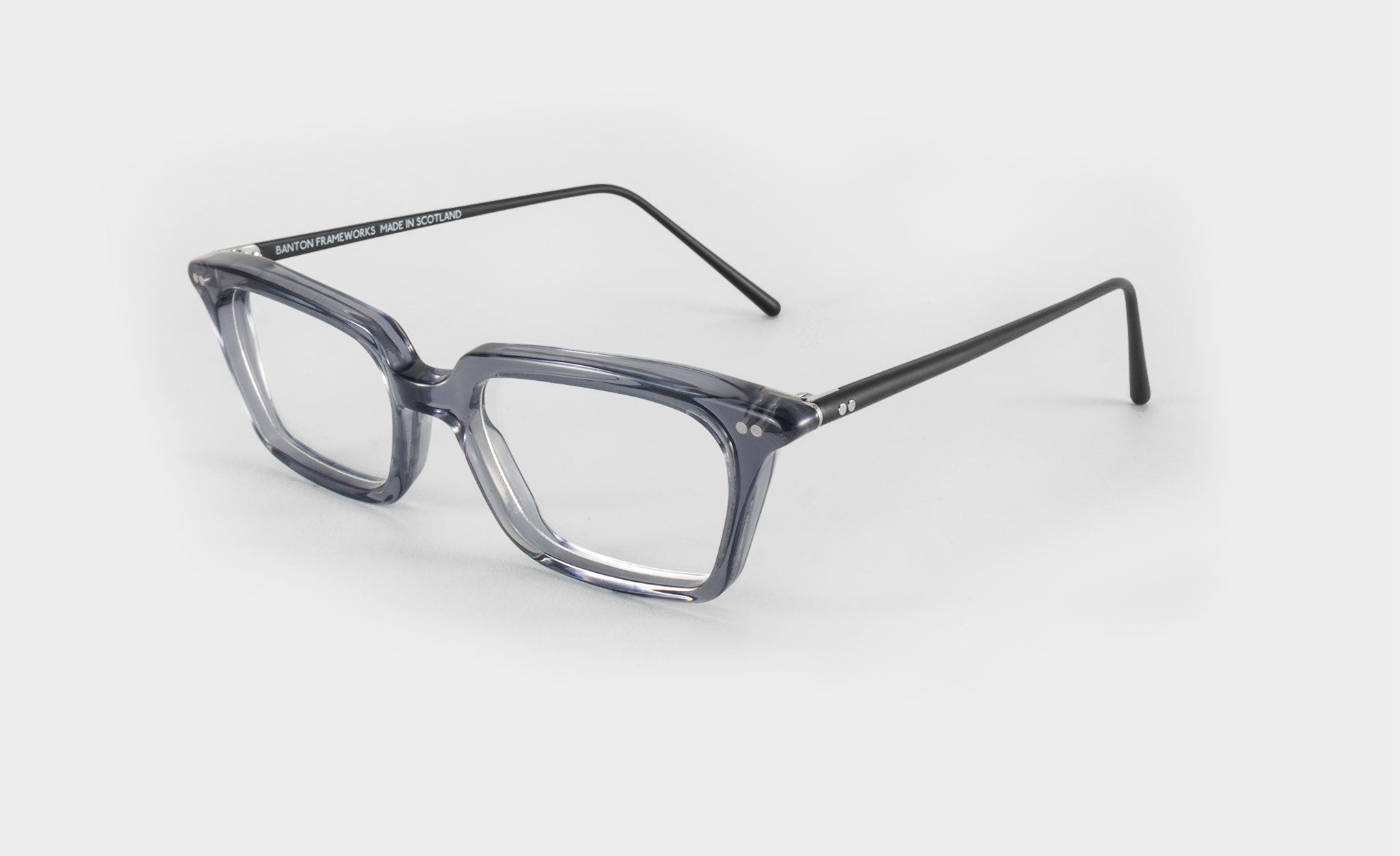 Womens Grey Rectangle Glasses Frame side view