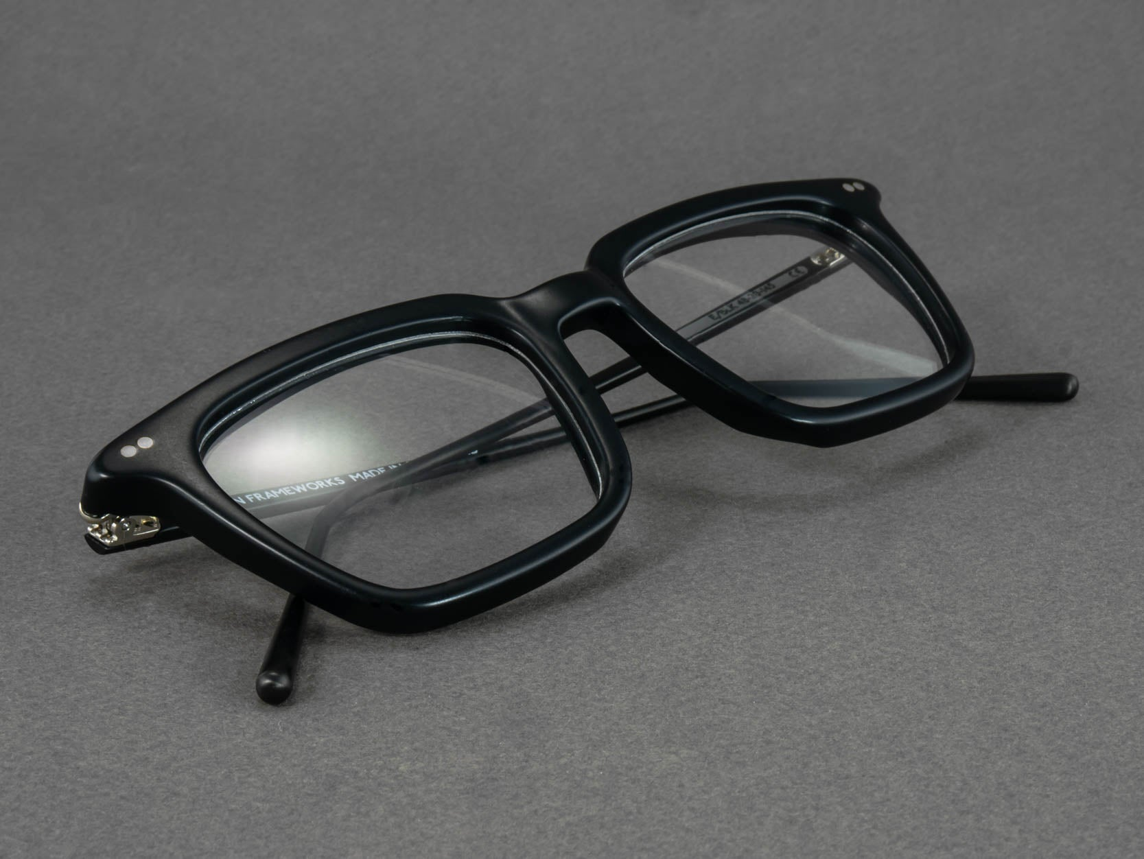 black rectangular optical glasses close up