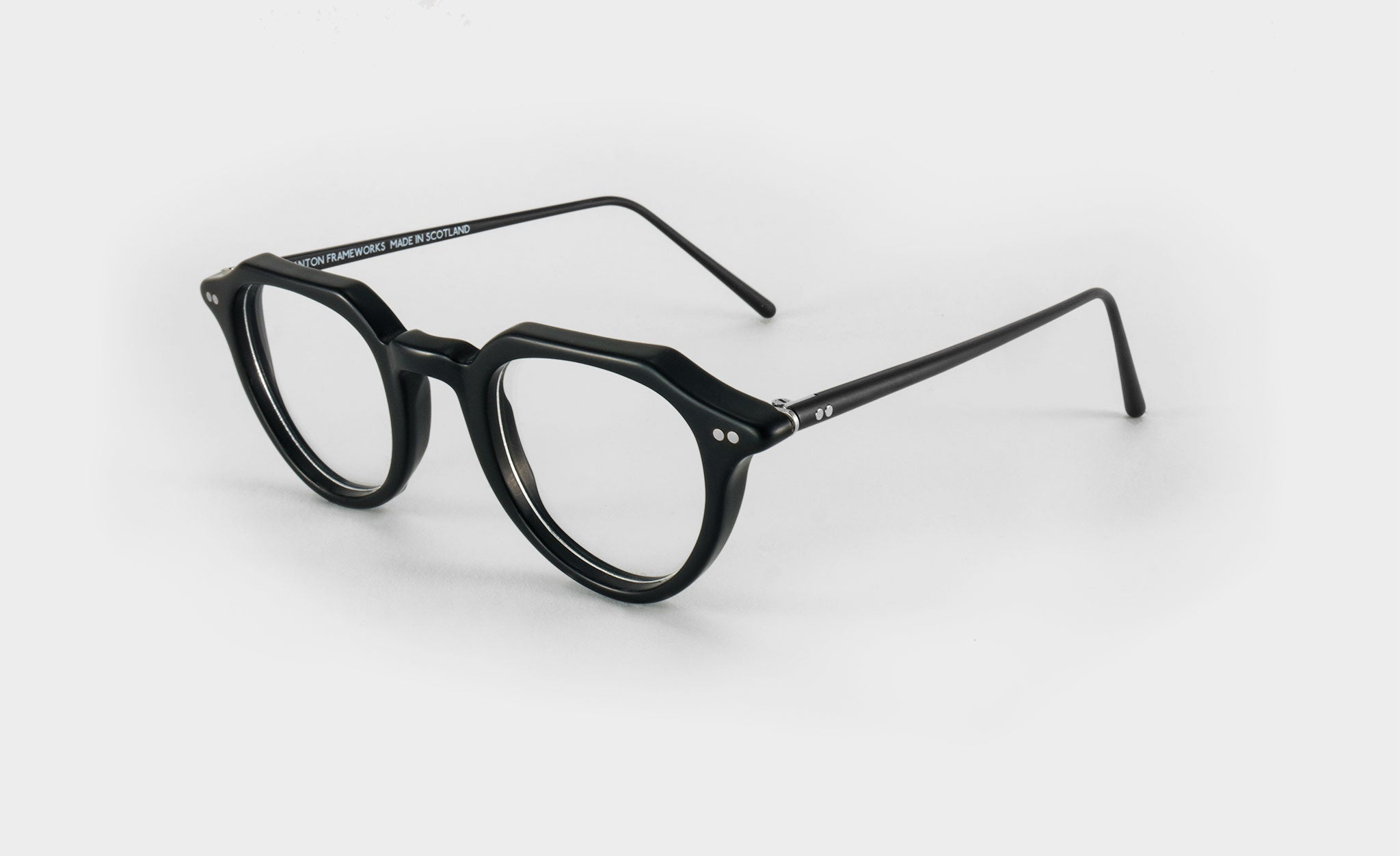 black round glasses side view