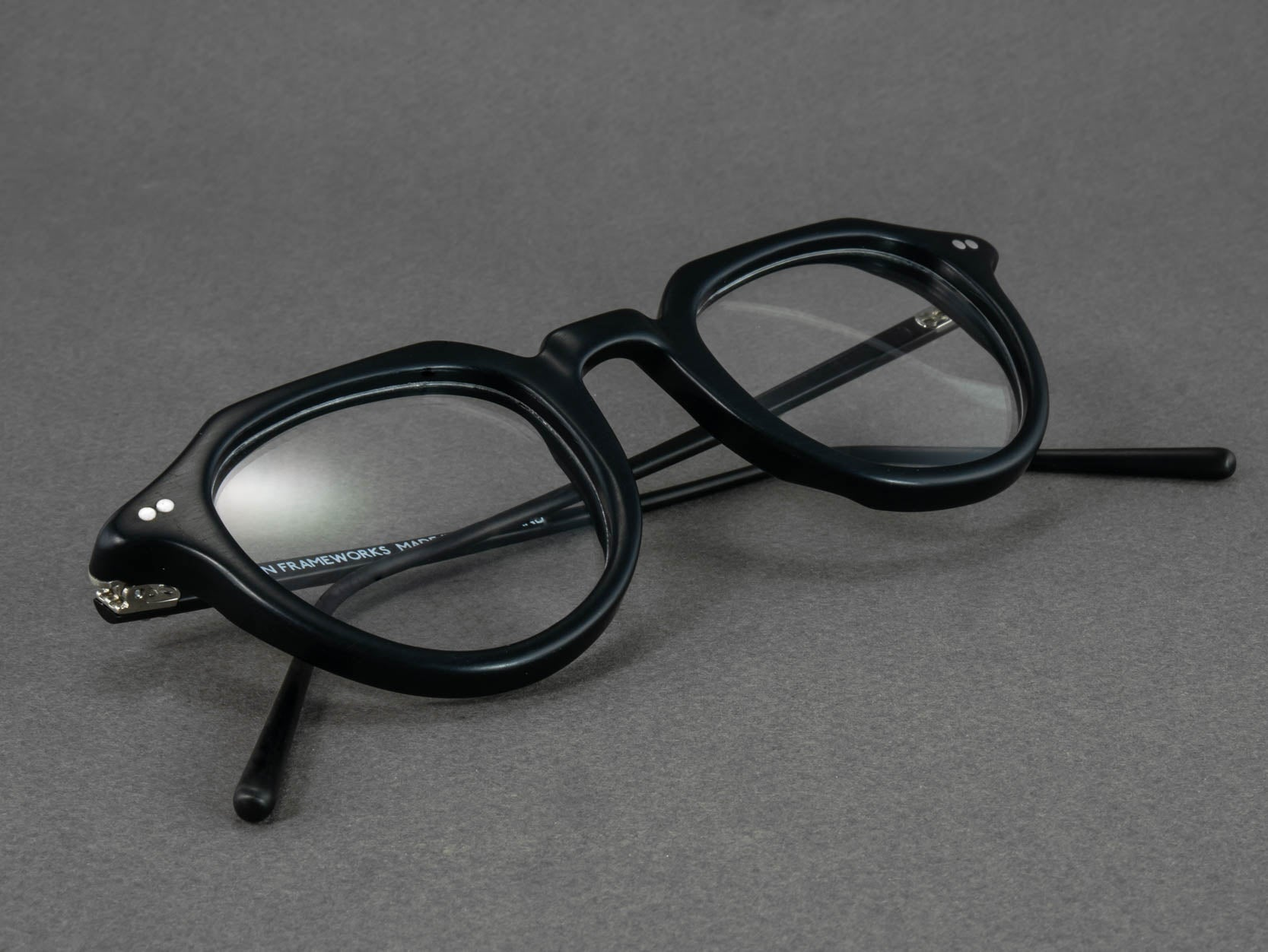 black round optical glasses close up