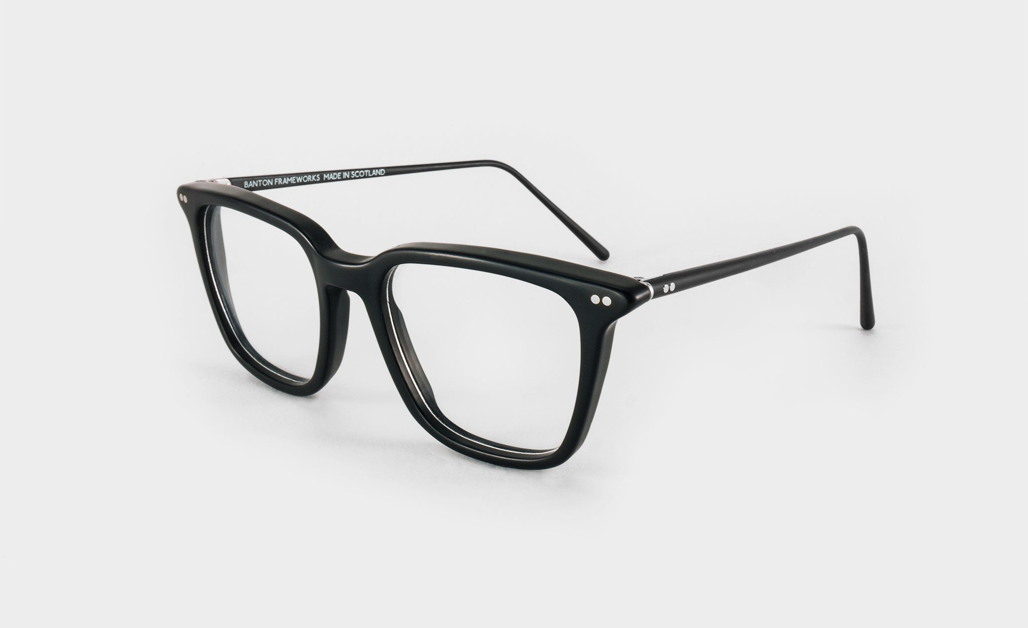 black square glasses side view