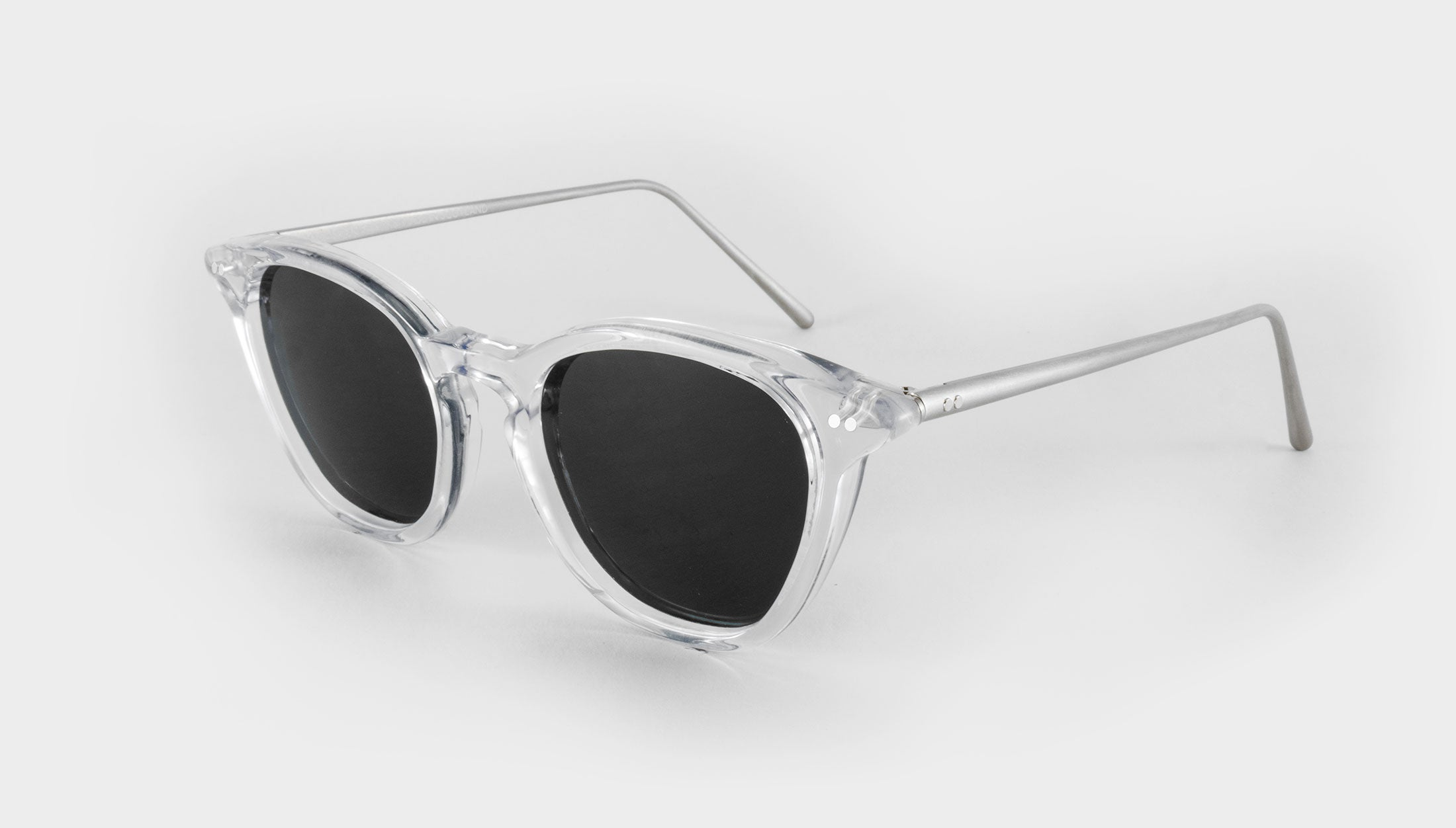 clear frame polarised sunglasses side view