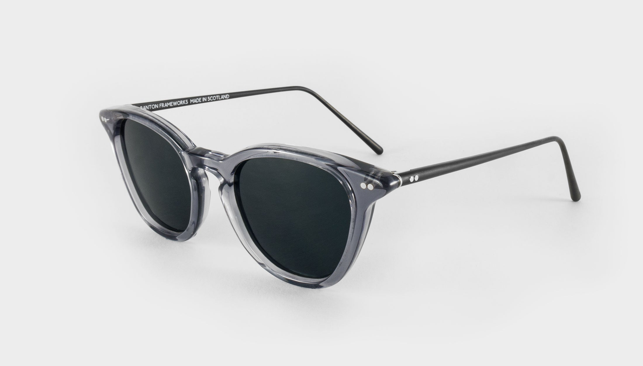 grey frame polarised sunglasses side view