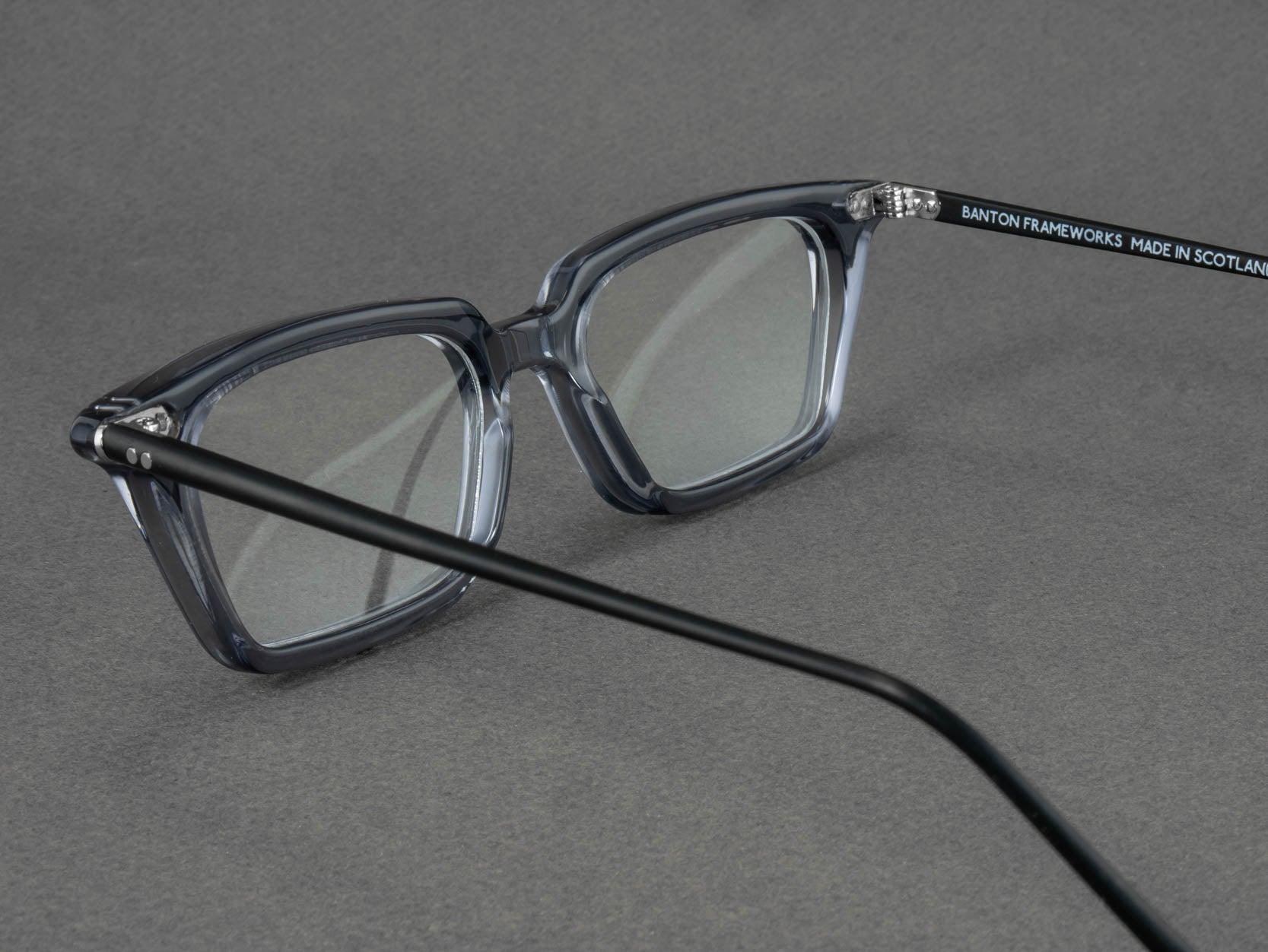 grey rectangular glasses frame aerial view
