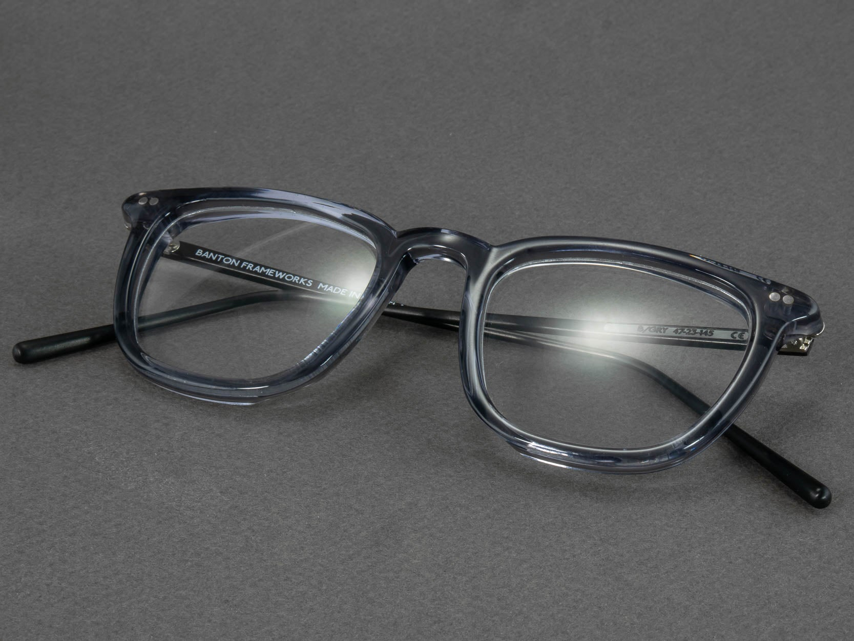 grey square glasses frame folded