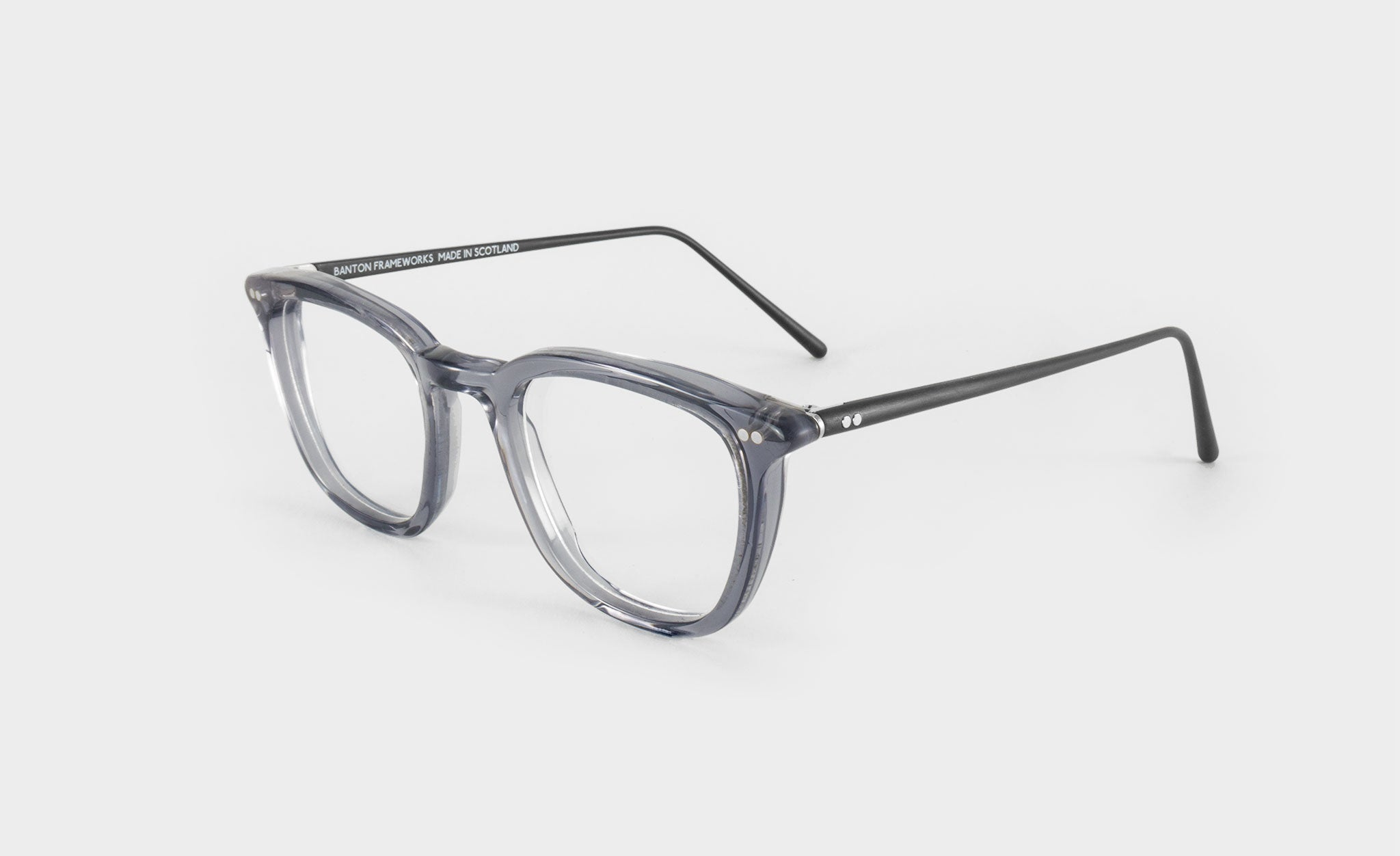 grey square glasses frame side view