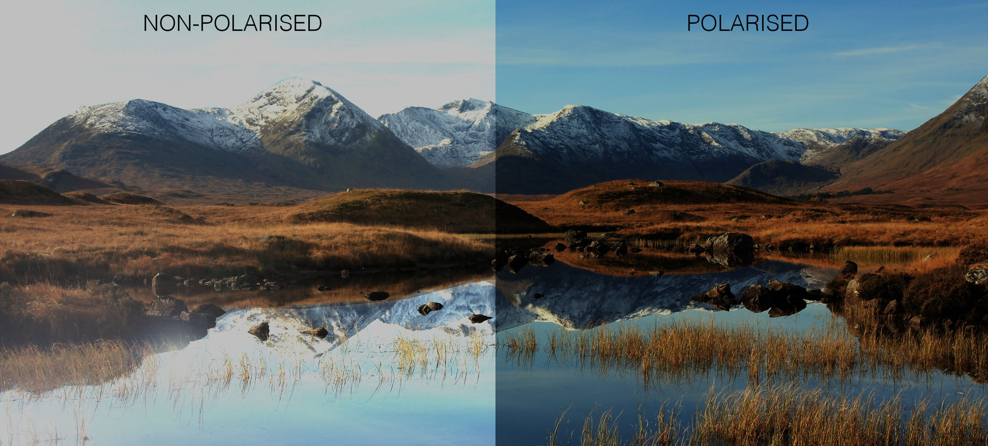landscape example of polarised vs non polarised