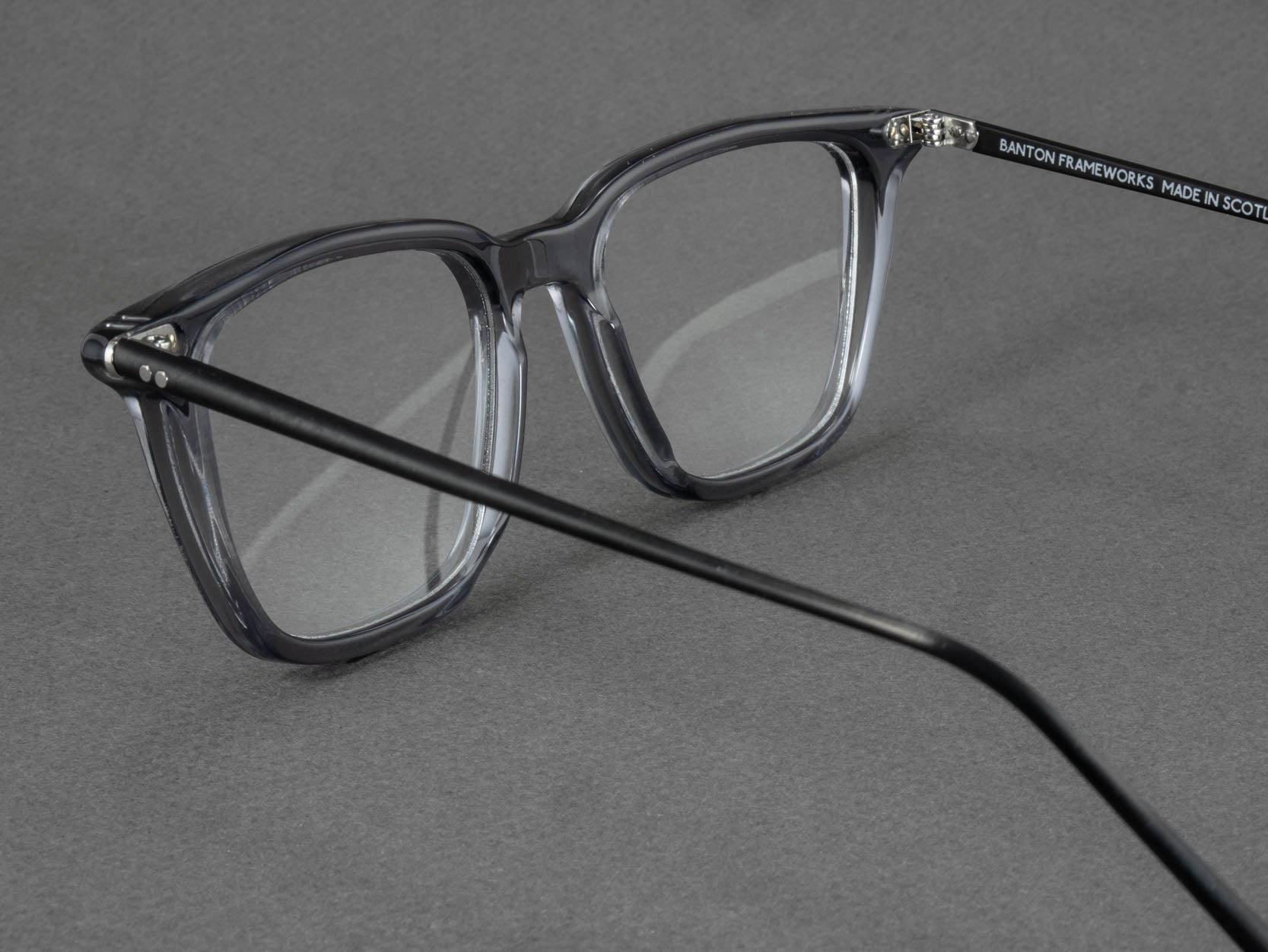 large grey glasses frame aerial view